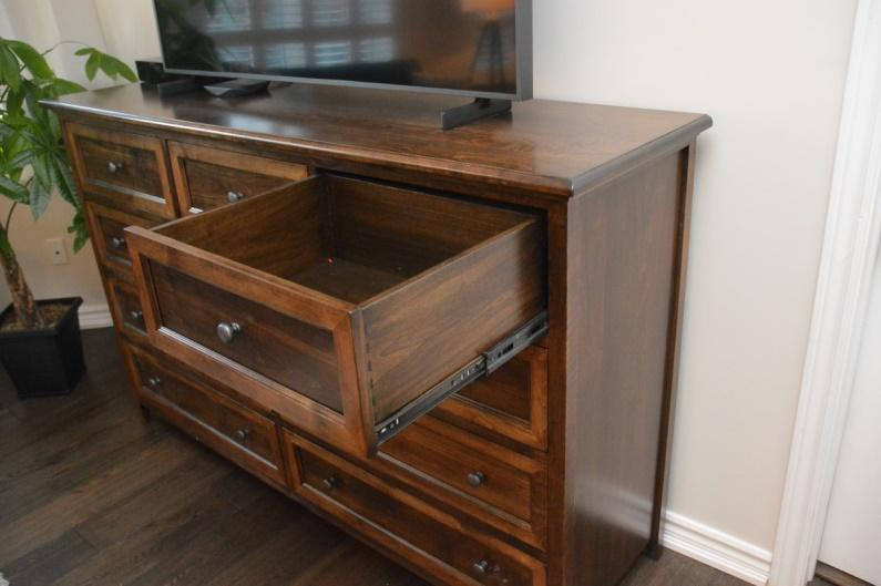 Nice deep drawers featuring four-corner English dovetail drawers, full-extension drawer glides